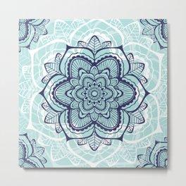 Teal Mandala floral Metal Print
