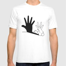 Rabbit Hand Shadow Mens Fitted Tee MEDIUM White