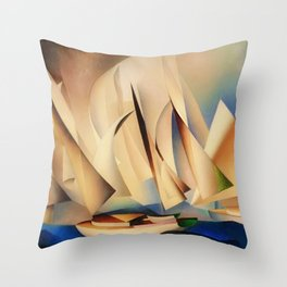 American Masterpiece 'Pertaining to Yachts and Yachting' by Charles Sheeler Throw Pillow