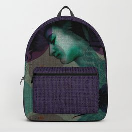 """""""The Girl and the Moon Burlap Texture"""" Backpack"""