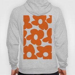 Orange Retro Flowers White Background #decor #society6 #buyart Hoody