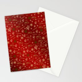 mom,mother golden happy christmas text in red Stationery Cards
