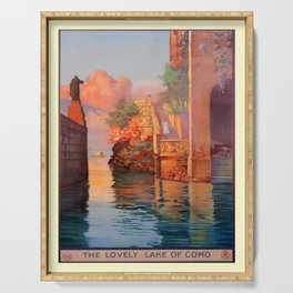 retro The Lovely Lake of Como Serving Tray