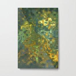 Green Yellow Gemstone Pattern Metal Print