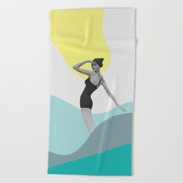 Swimmer Collage Beach Towel