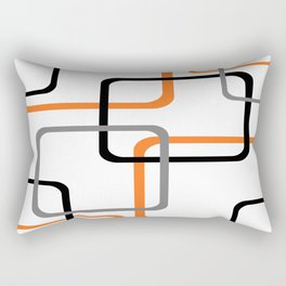 Geometric Rounded Rectangles Collage Orange Rectangular Pillow