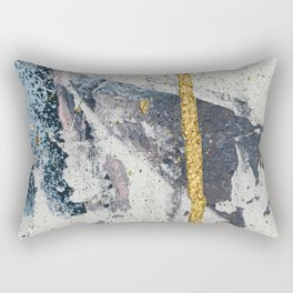 Synergy: a minimal, abstract mixed-media piece in gold, blue, and purple by Alyssa Hamilton Art Rectangular Pillow