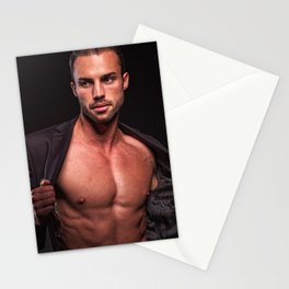 Sexy man shirtless || erotica deco Stationery Cards