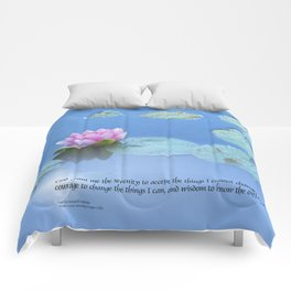 Serenity Prayer Pink Water Lily Comforters