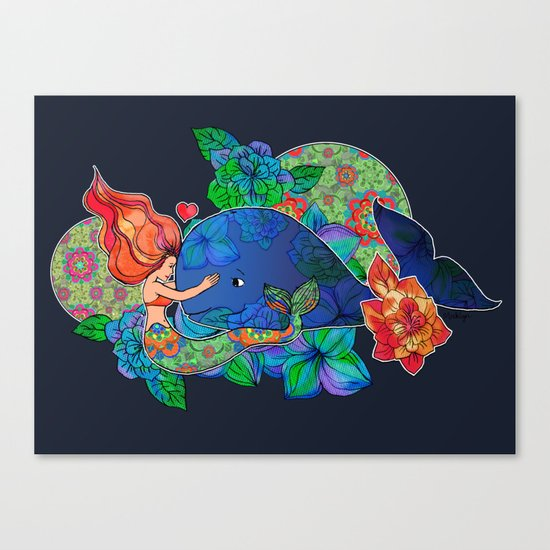 The Mermaid and the Whale Canvas Print