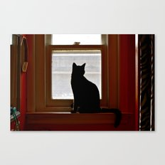 Salem in the window. Canvas Print