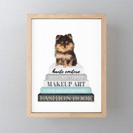 Black and tan, Pom, pomeranian, Books, Fashion books, Teal, Fashion, Fashion art, fashion poster Framed Mini Art Print