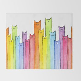 Cat Rainbow Watercolor Pattern Throw Blanket