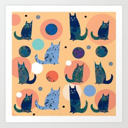 cats and planets Art Print
