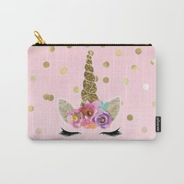 Floral Trendy Modern Unicorn Horn Gold Confetti Carry-All Pouch