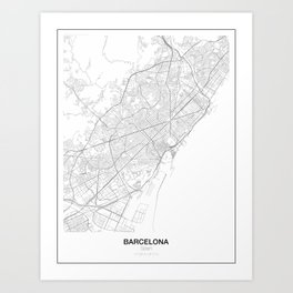 Barcelona, Spain Minimalist Map Art Print