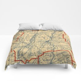 Vintage Map of Hartford County CT (1846)  Comforters