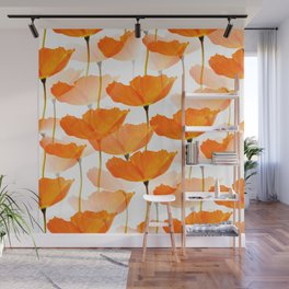 Orange Poppies On A White Background #decor #society6 #buyart Wall Mural