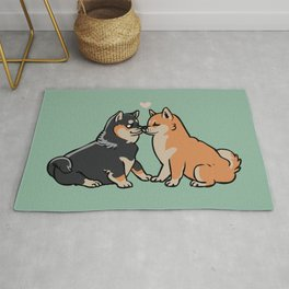 Shiba Inu Kisses Rug