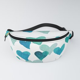 Valentine's Day Watercolor Hearts - turquoise Fanny Pack