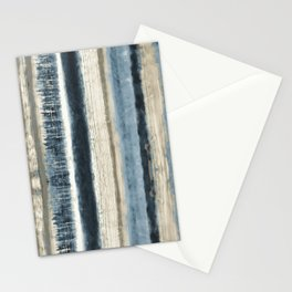 Distressed Blue and White Watercolor Stripe Stationery Cards