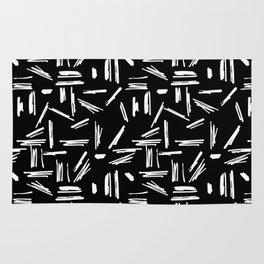 Crosshatch Doodle Black and White Rug