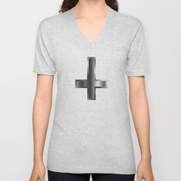 An inverted cross- The Cross of Saint Peter used as an anti-Christian and Satanist symbol Unisex V-Neck