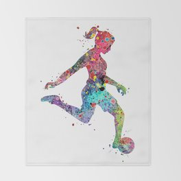 Girl Soccer Player Watercolor Print Sports Print Soccer Player Poster Throw Blanket