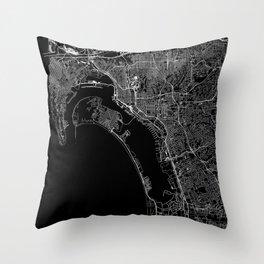 San Diego Black Map Throw Pillow