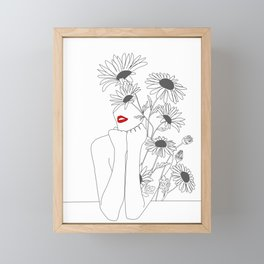 Minimal Line Art Girl with Sunflowers Framed Mini Art Print
