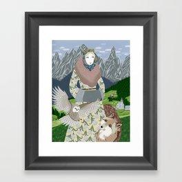 Lady with an owl and a dog Framed Art Print