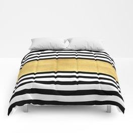 Zebra pattern with golden stripe Comforters