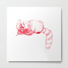 Red Panda Yawning Metal Print
