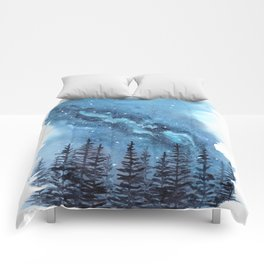 """Adventure Awaits"" watercolor galaxy landscape illustration Comforters"