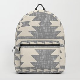 Southwestern Pattern 131 Grey and Beige Backpack