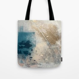 Embrace: a minimal, abstract mixed-media piece in blues and gold with a hint of pink Tote Bag