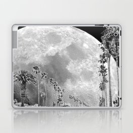 California Dream // Moon Black and White Palm Tree Fantasy Art Print Laptop & iPad Skin