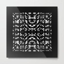ONYX square black and white prismatic design with black border Metal Print