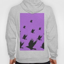 FLYING FLOCK BLACK CROWS/RAVENS ON LILAC COLOR Hoody