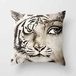 Tiger or woman Throw Pillow