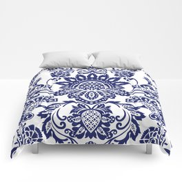 damask blue and white Comforters