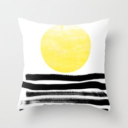 Soleil - sunset sunrise abstract painting art decor dorm college art painting brushstrokes india ink Throw Pillow