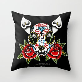Cat Sugar Skull Throw Pillow