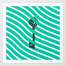 Teal White Zig Zag Stripes Pattern Black Wood Key Art Print