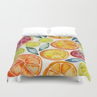 blood Duvet Covers featuring Sliced Citrus Watercolor by Cat Coquillette