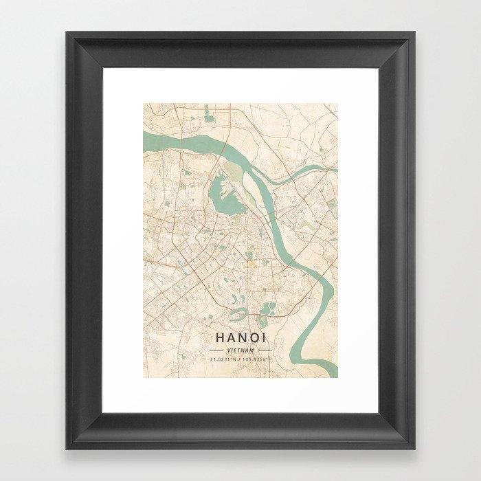 Hanoi, Vietnam - Vintage Map Gerahmter Kunstdruck