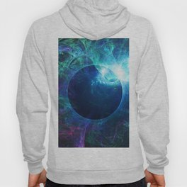Abstract colorful shiny print graphic with planet space Hoody
