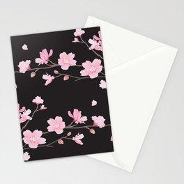 Cherry Blossom - Black Stationery Cards