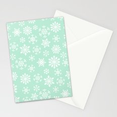 minty snow flakes Stationery Cards