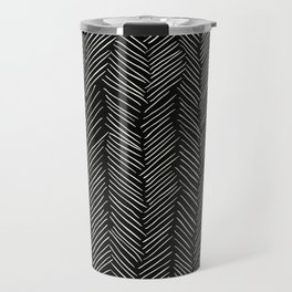Herringbone Cream on Black Travel Mug